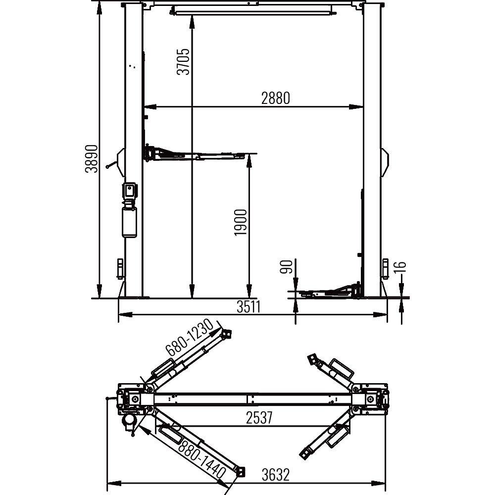 AMT 25CS-1 Clear Floor 2 Post Lift 1