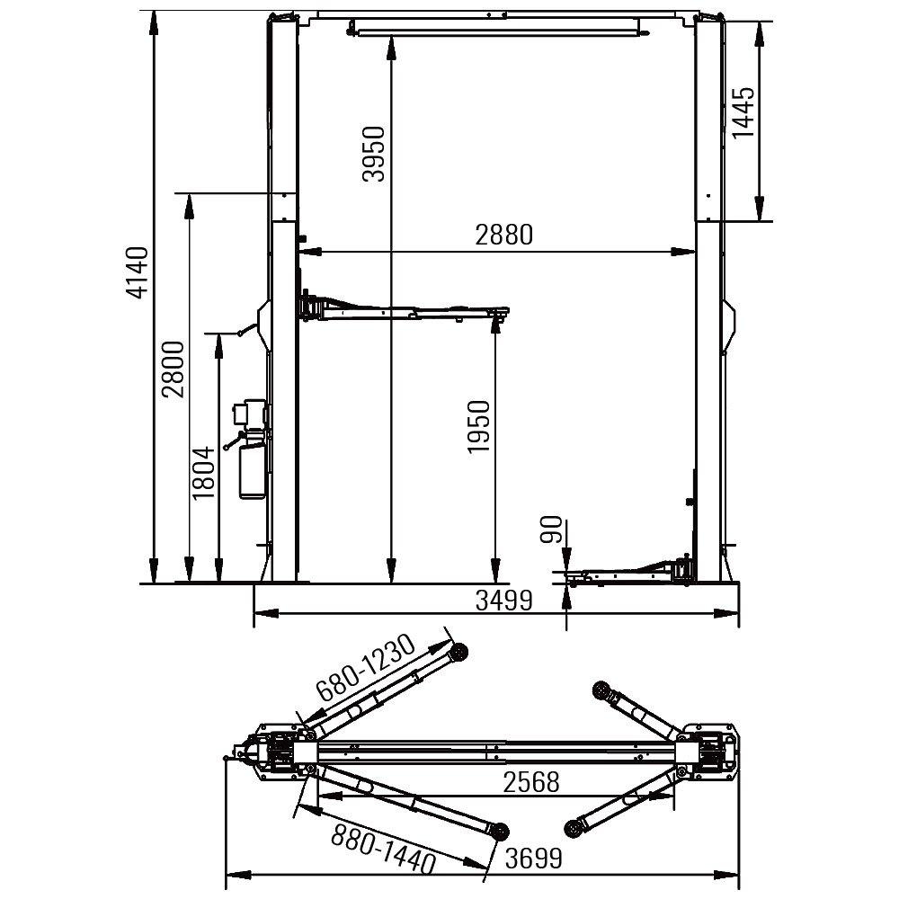 AMT 24CS-1 Clear Floor 2 Post Lift 1
